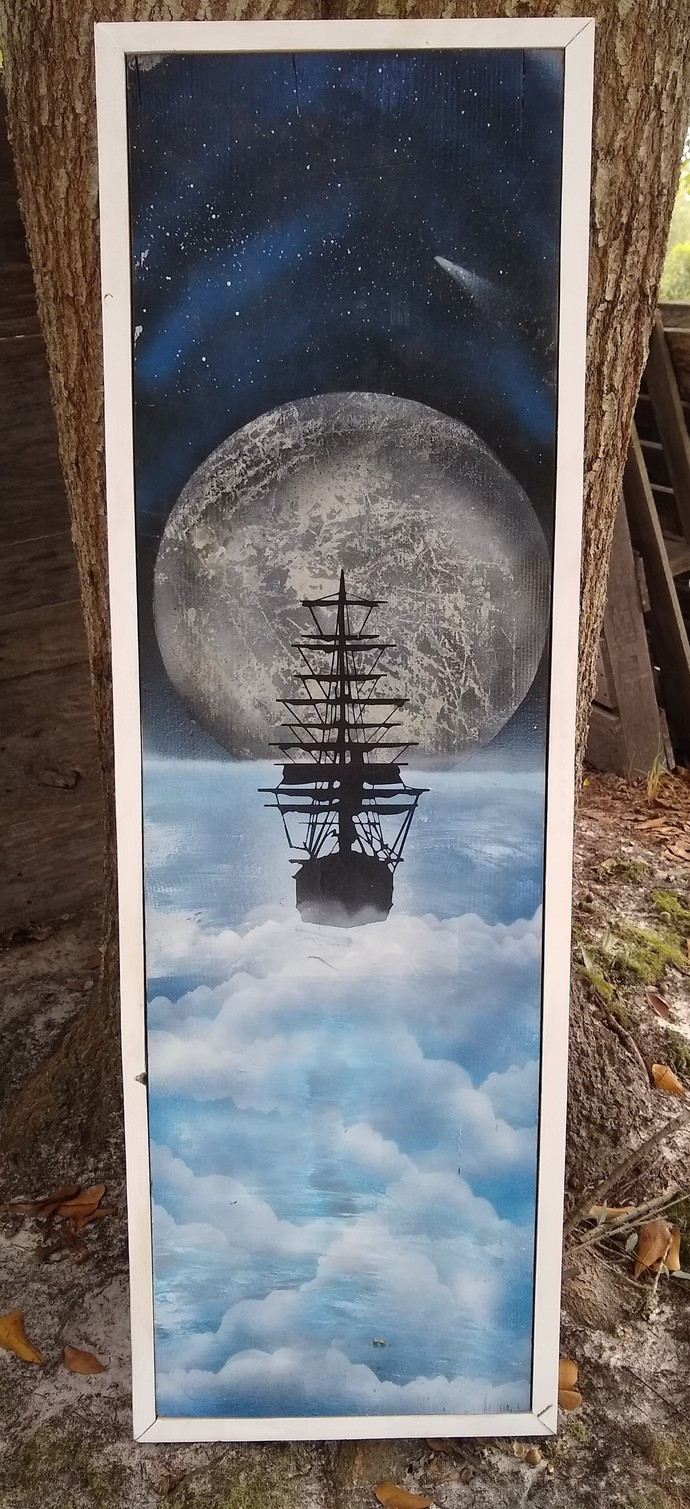 Sailing the seas, surreal painting on wood