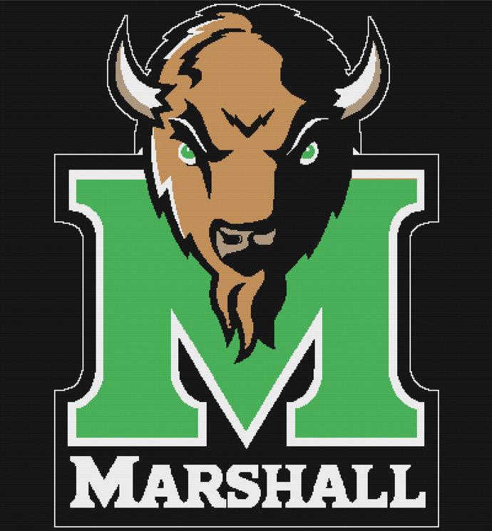 Marshall University Thundering Herd Single Crochet Pattern Graphghan King Size