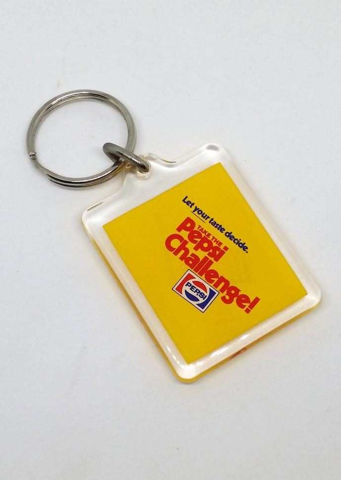'80s Pepsi Challenge Double Sided Acrylic Keychain / Key Ring - New Unused