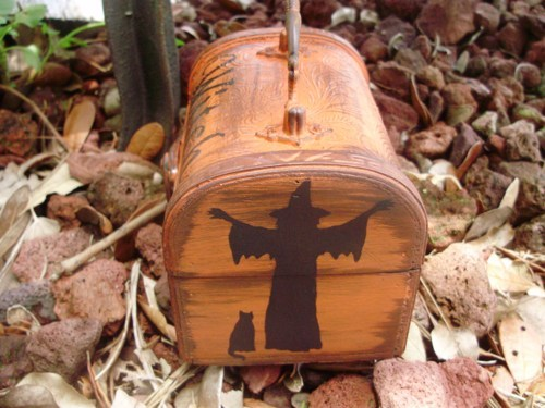 Primitive Witch purse Witches Spells Chest purses box Magic Wiccan Black Cats