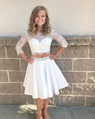Elegant Half Sleeve Lace Short Homecoming Dress, White Two Piece Prom Dress