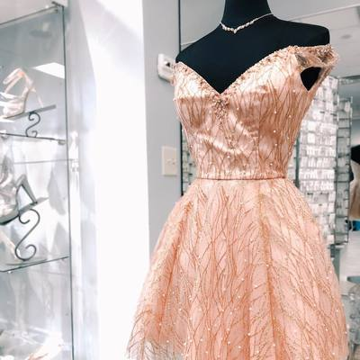 Charming Off the Shoulder V neck Beaded Prom Dress