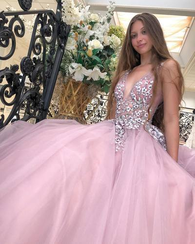Charming Deep V neck Tulle Appliques Evening Party Dress, Pink Long Prom Dress,