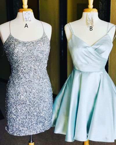 Sexy Straps Beaded Short Homecoming Dress, Sleeveless Party Gown