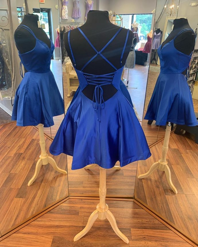 Fashion Double Straps Short Satin Party Dress