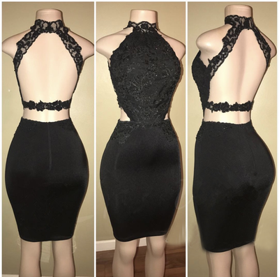 Sexy Halter Black Open Back Short Party Dress with Appliques