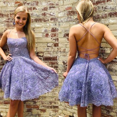 Fashion Straps Backless Appliques Short Party Dress