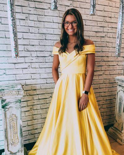 Charming Off the Shoulder Yellow Long Evening Dress, Formal Prom Dress