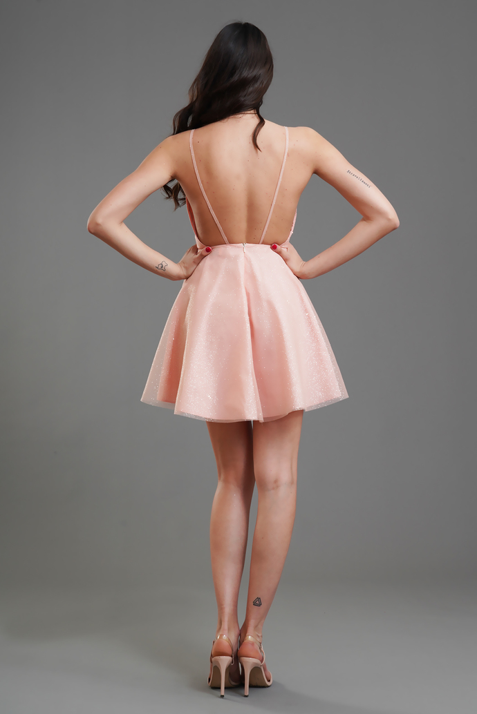 Sexy Straps Pink Short Party Dress, Open Back Mini Cocktail Dress