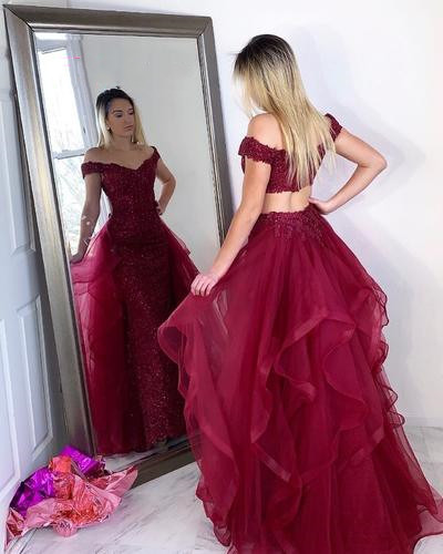 Sexy ulle Burgundy Appliques Tiered Long Prom Dresses, Evening Party Dress