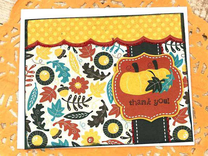 Bright and Colorful Autumn Thank You Note, Greeting Card, Leaves, Flowers,