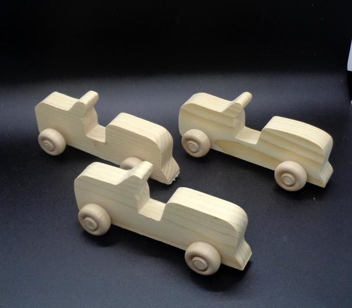 Pkg of 3 Handcrafted Wood Toy Jeeps 312BH-U-3 unfinished or finished