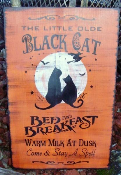 Primitive witch Halloween signs decorations Black Cats Bed and Breakfast Witches