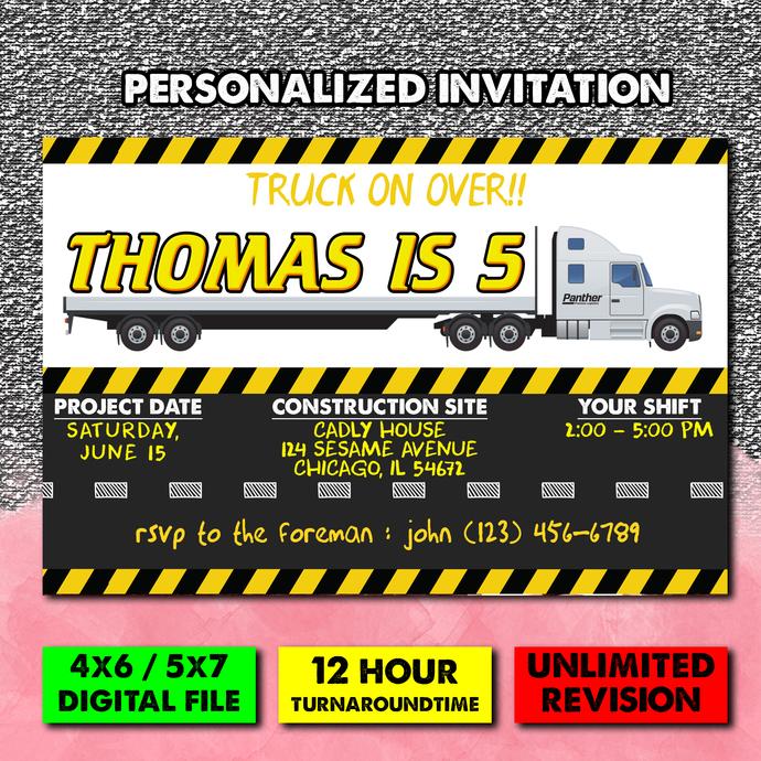 Semi Truck invitation