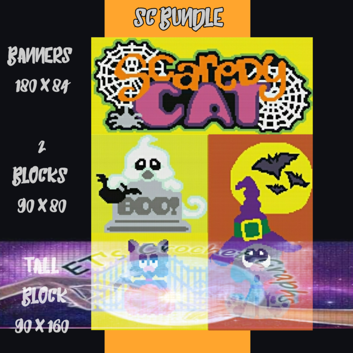Scaredy CAT Halloween Bundle SC 4 Patterns include Graphs with Written Color