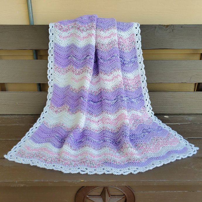 Crochet Baby Blanket, Lavender and White Ripple