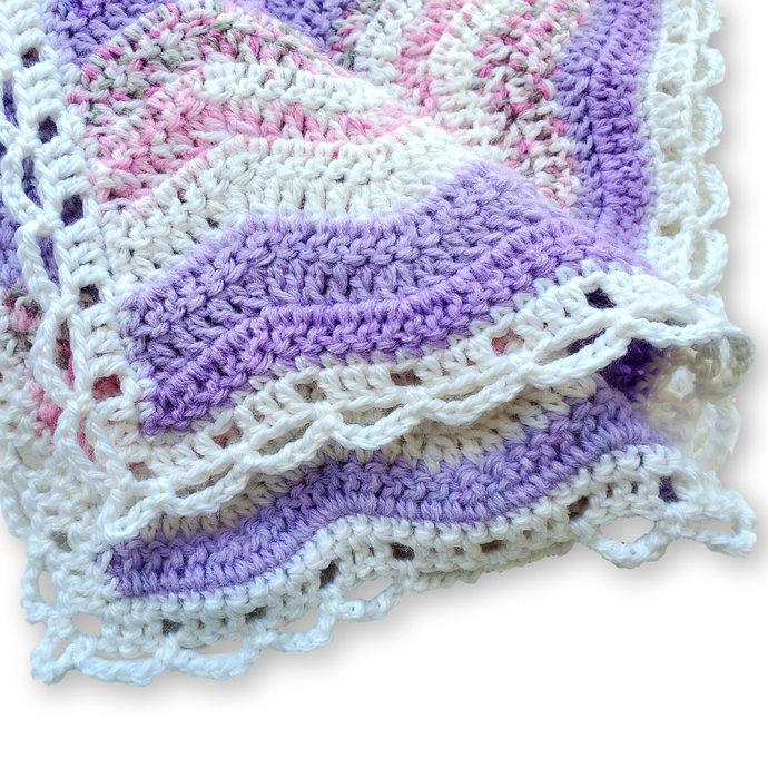 Crochet Baby Blanket, Lavender and White Ripple