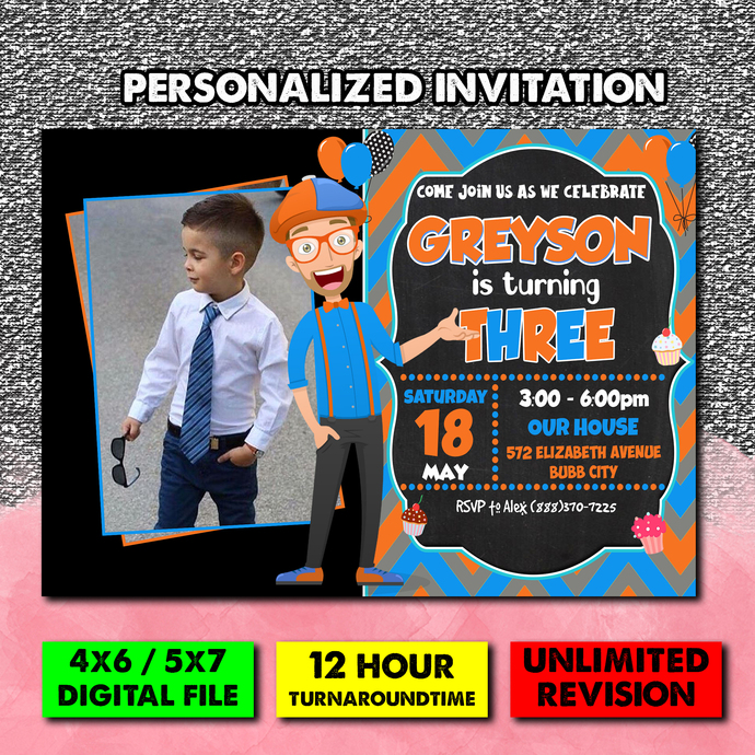 Blippi Birthday Invitation