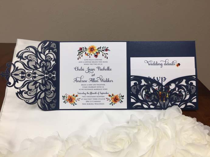 More Colors Gorgeous Square Laser Cut Wedding Invitations Pocket Wedding