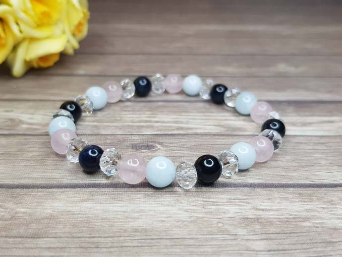 Aquamarine Bracelet  - Rose Quartz Bracelet - Aquamarine Crystal Bracelet -