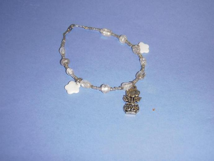 White and clear beaded bracelet flower garden charms