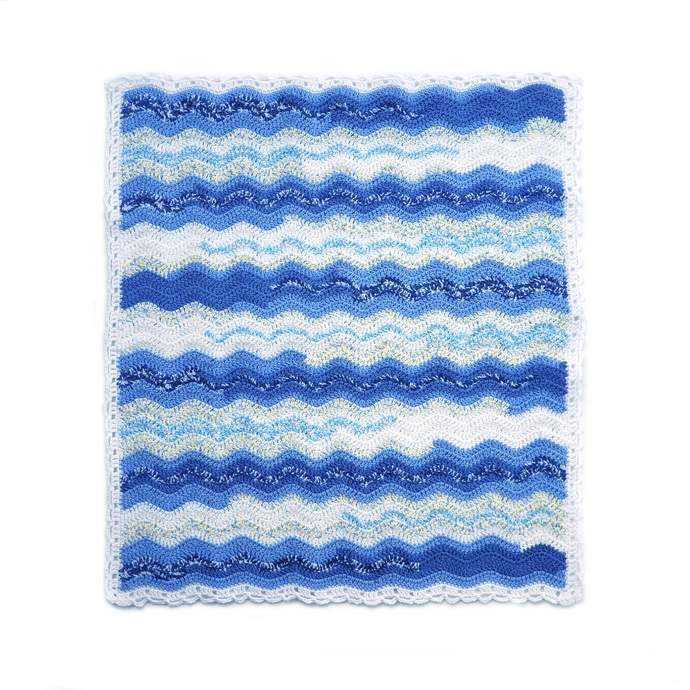 Blue and White Ripple Crochet Baby Blanket