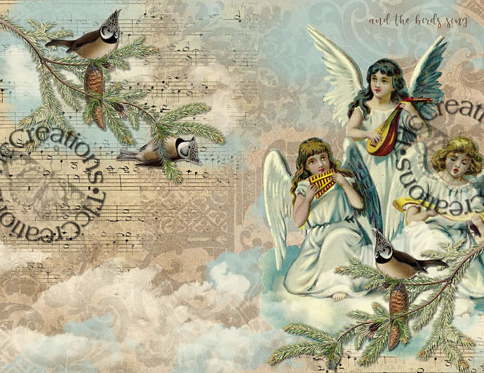 The Angels Play and the Birds Sing Vintage Printable Digital Paper Journal Kit