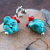 Turquoise and Red Coral Leverback Drops