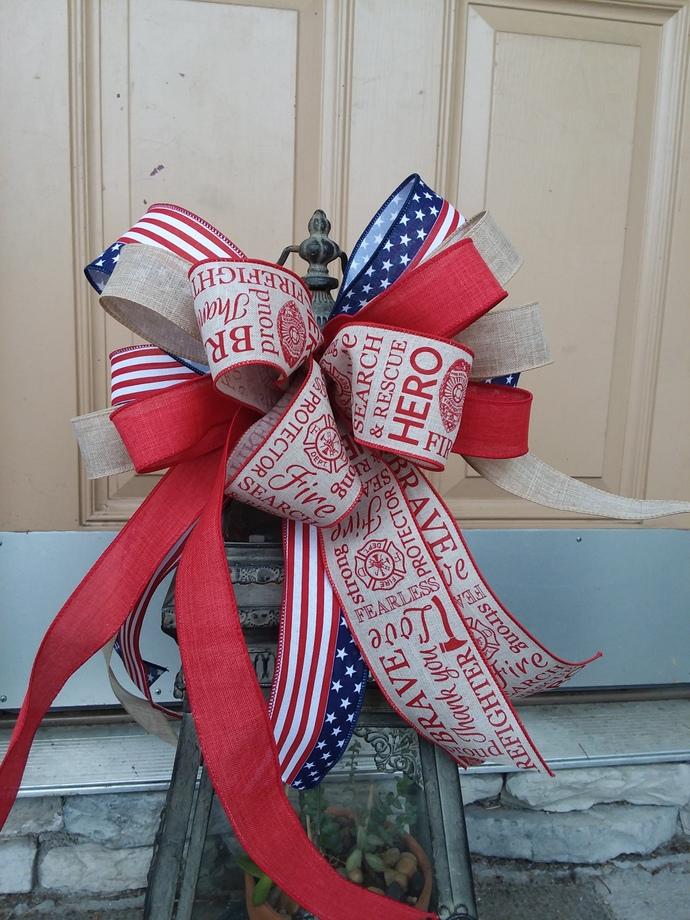 Firefighter Bow~ Front Door wreath bow~ Firemen bow~ Firefighter Decor~