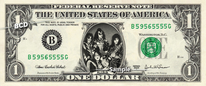 KISS Music Band on a REAL Dollar Cash Bill Money Collectible Memorabilia