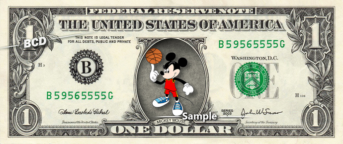 MICKEY MOUSE Basketball on a REAL Dollar Disney Cash Bill Money Collectible