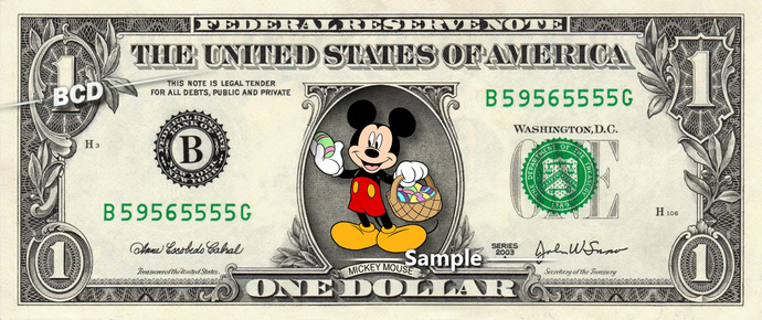 MICKEY MOUSE Easter on a REAL Dollar Disney Cash Bill Money Collectible