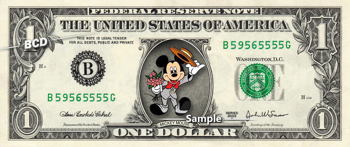 MICKEY MOUSE Proposing on a REAL Dollar Disney Cash Bill Money Collectible