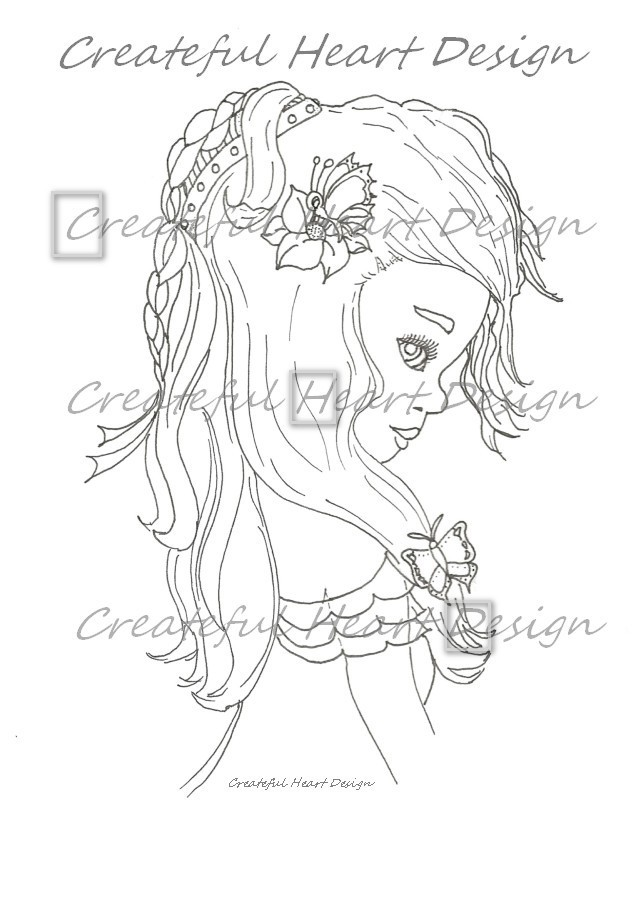 Tabitha - outlined digital image by Createful Heart Design