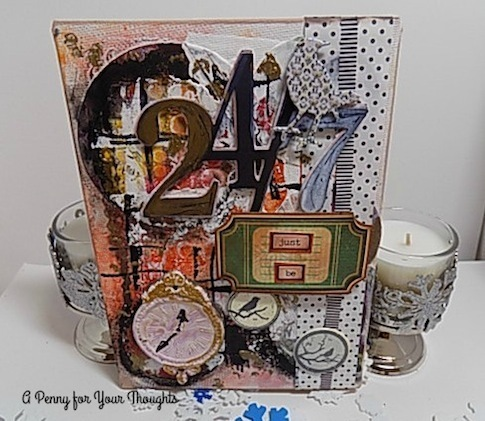 Twenty Four,Seven Mixed Media Canvas Board. Listed and Ready to Ship