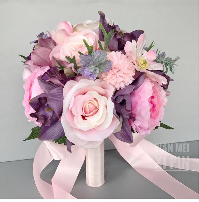 Artificial Wedding Bouquet, Bridal Bouquet, Pink And Purple Bouquet, Wedding