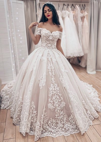 Stunning Appliques Tulle White Ball Gown Wedding Dresses, Formal Bridal Dresses