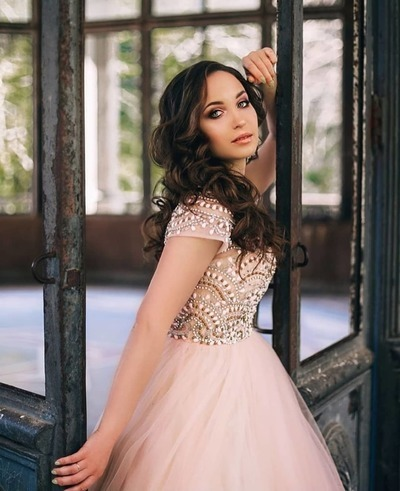 Elegant Short Sleeve Beaded Tulle Pink Prom Dress, Pretty Wedding Party Gown