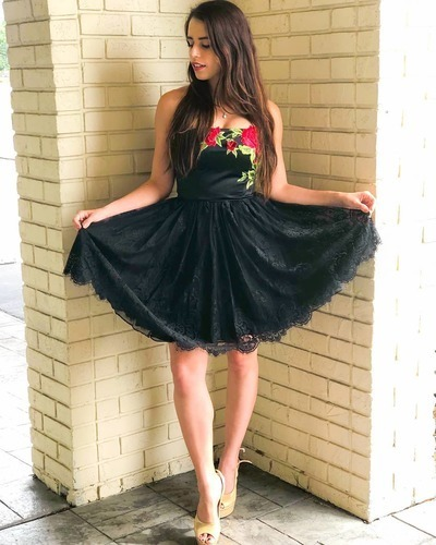 Black Strapless Floral Lace Short Homecoming Dress, Black Party Gown