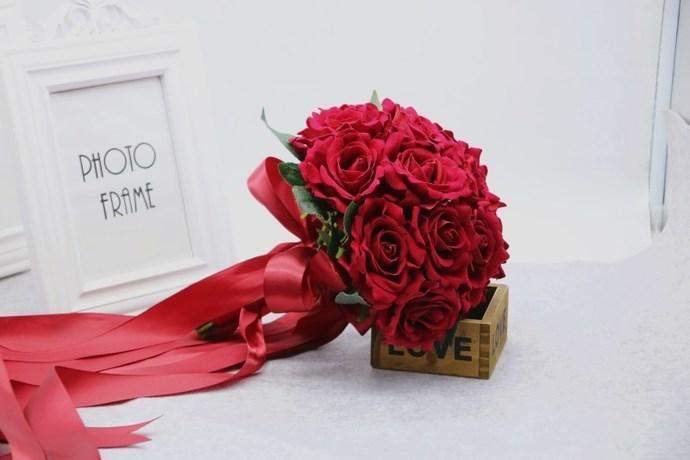 Wedding Bouquet, Artificial Bridal Bouquet, Red Rose Bouquet, Wedding Flowers,