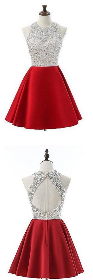 Elegant Red Beaded Short Homecoming Dress, Satin Party Dress