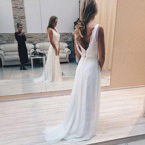 Charming V neck White A Line Prom Dress, Long Evening Dress