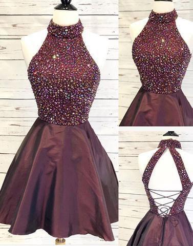 Beaded Halter Short Homecoming Dress, Open Back Burgundy A Line Prom Dress