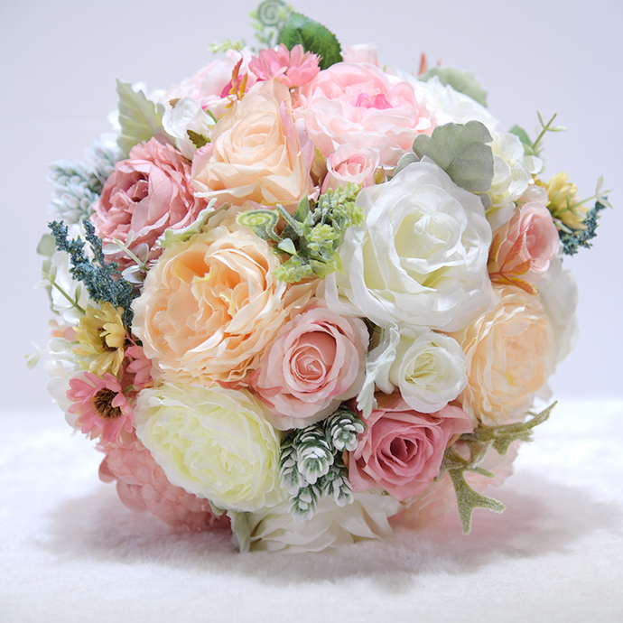 Wedding Bouquet, Artificial Bridal Bouquet, champagne and pink Bouquet, Wedding