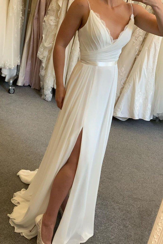 Fashion Spaghetti Straps White Chiffon Prom Dress with Slit, Backless Evening