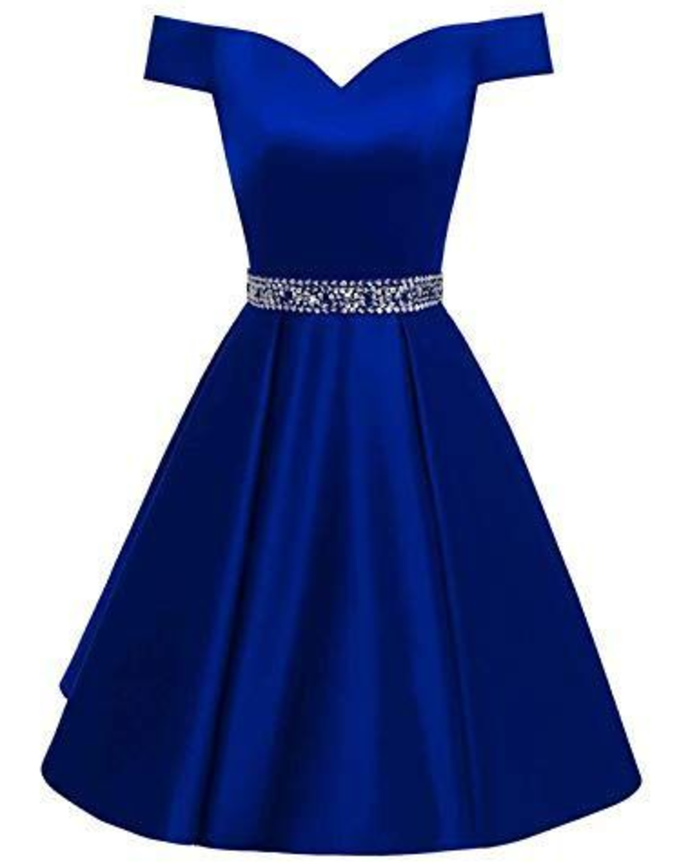 Dark Blue Off the Shoulder Short Homecoming Dress with Beads