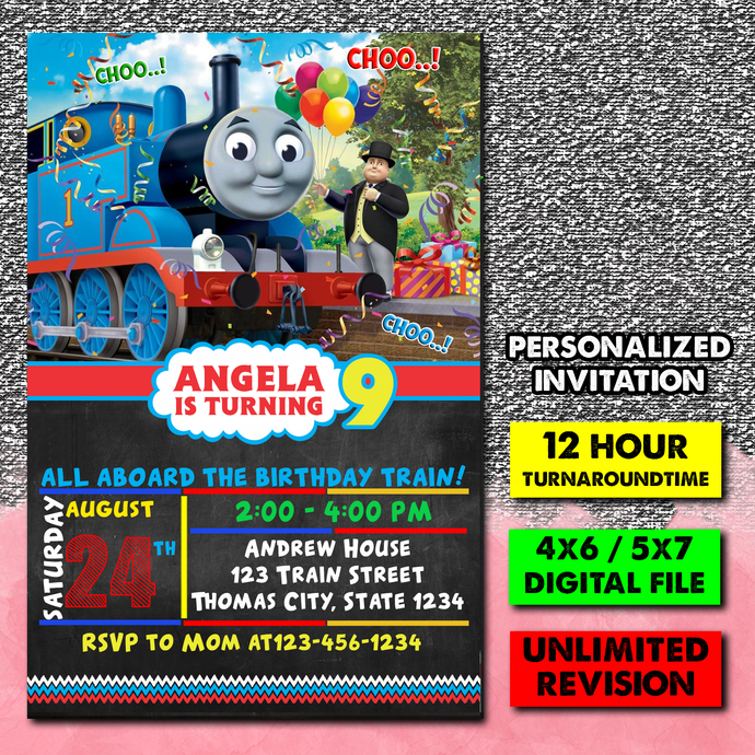 Thomas The Train, Thomas and friends, Thomas The Train Invitation, Personalized