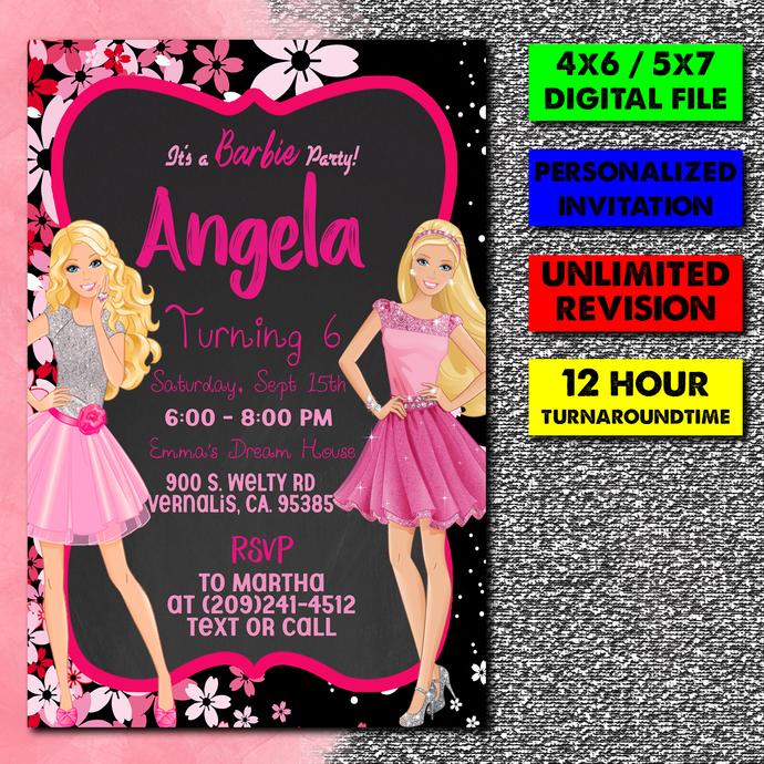 barbie Invitation, Personalized Invitation