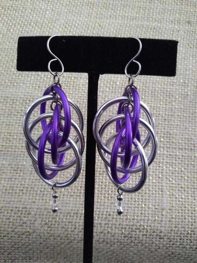 Lg Aluminum Multi Ring Earrings - purple and silver