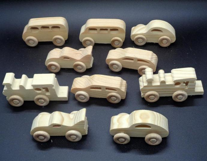 Handcrafted Wood Toy Train Engine, Van. Cars  OT-50  unfinished or finished